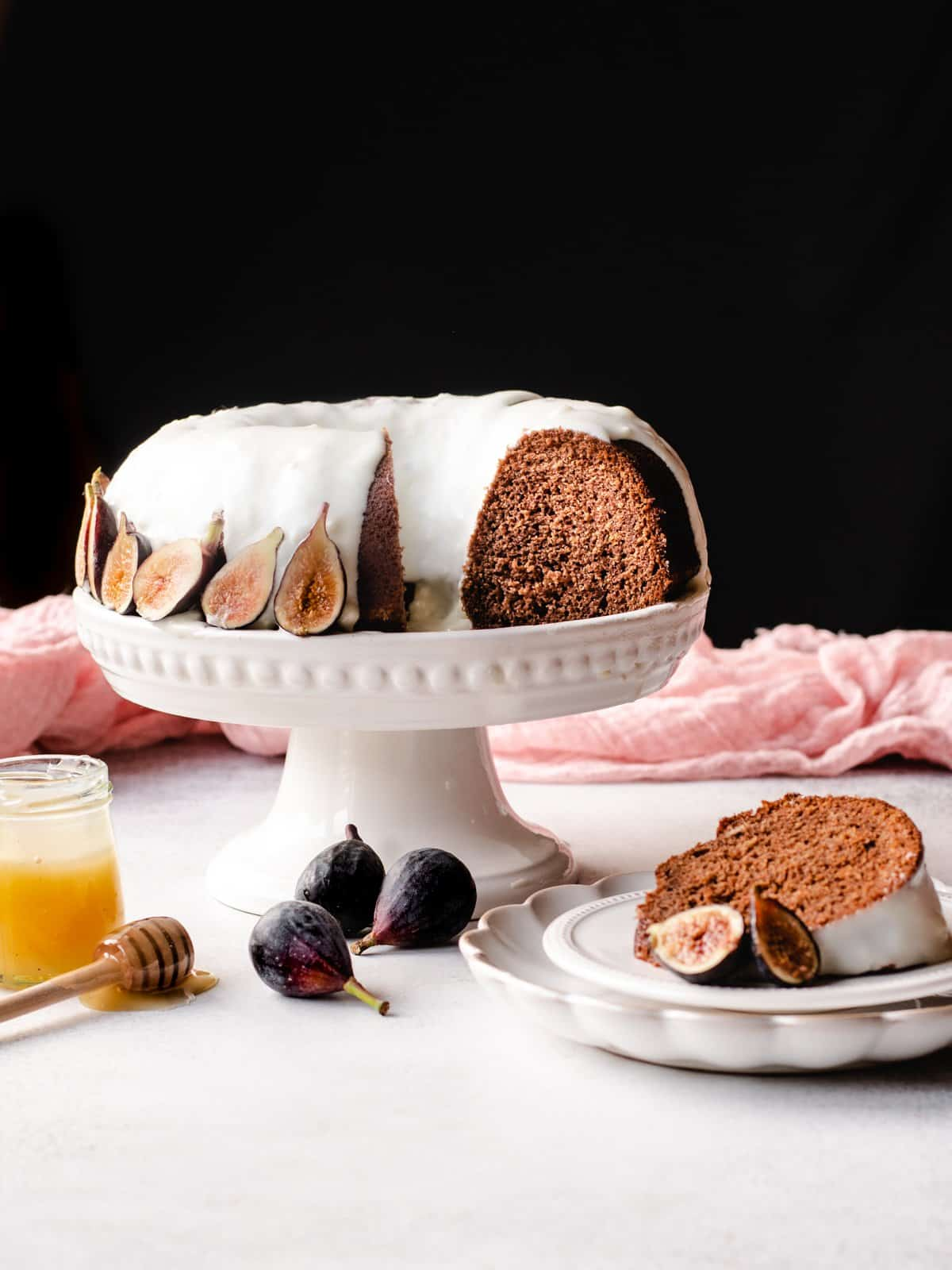 Honey Cake with Goat Cheese Frosting & Figs