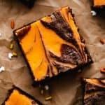 Halloween Cream Cheese Brownies | kickassbaker.com pin for pinterest with text 1