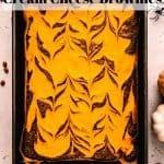 Halloween Cream Cheese Brownies | kickassbaker.com pin for pinterest with text 2