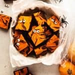 Halloween Cream Cheese Brownies | kickassbaker.com pin for pinterest with text 5