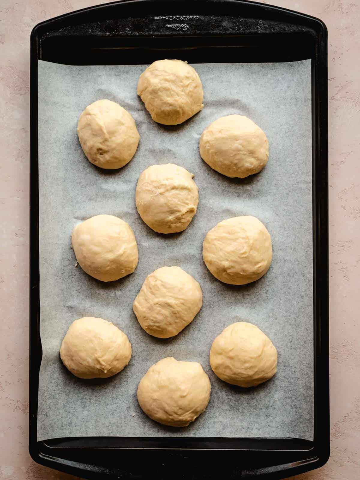 brioche buns ready for second rise