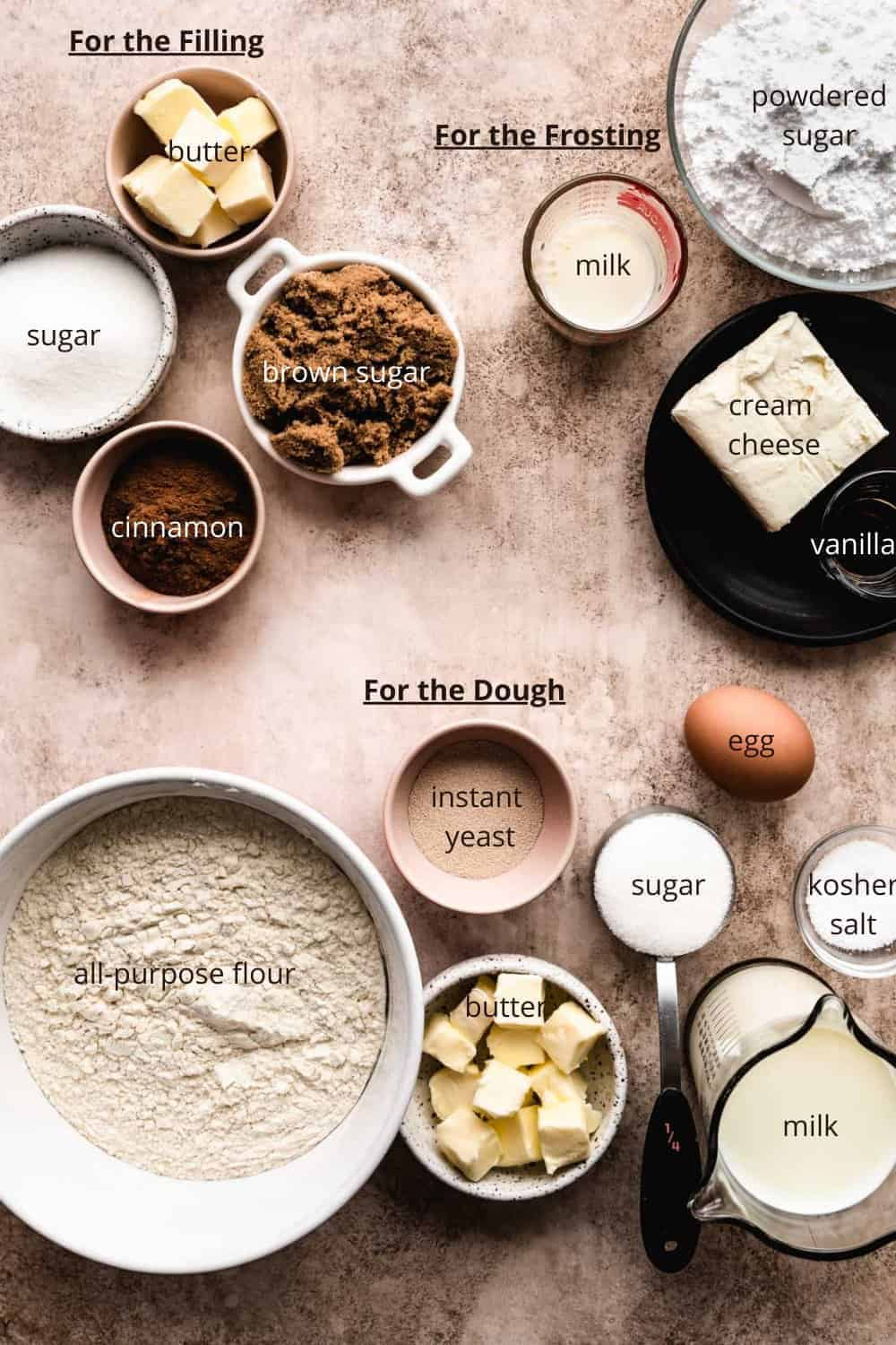ingredients needed to make cinnamon rolls