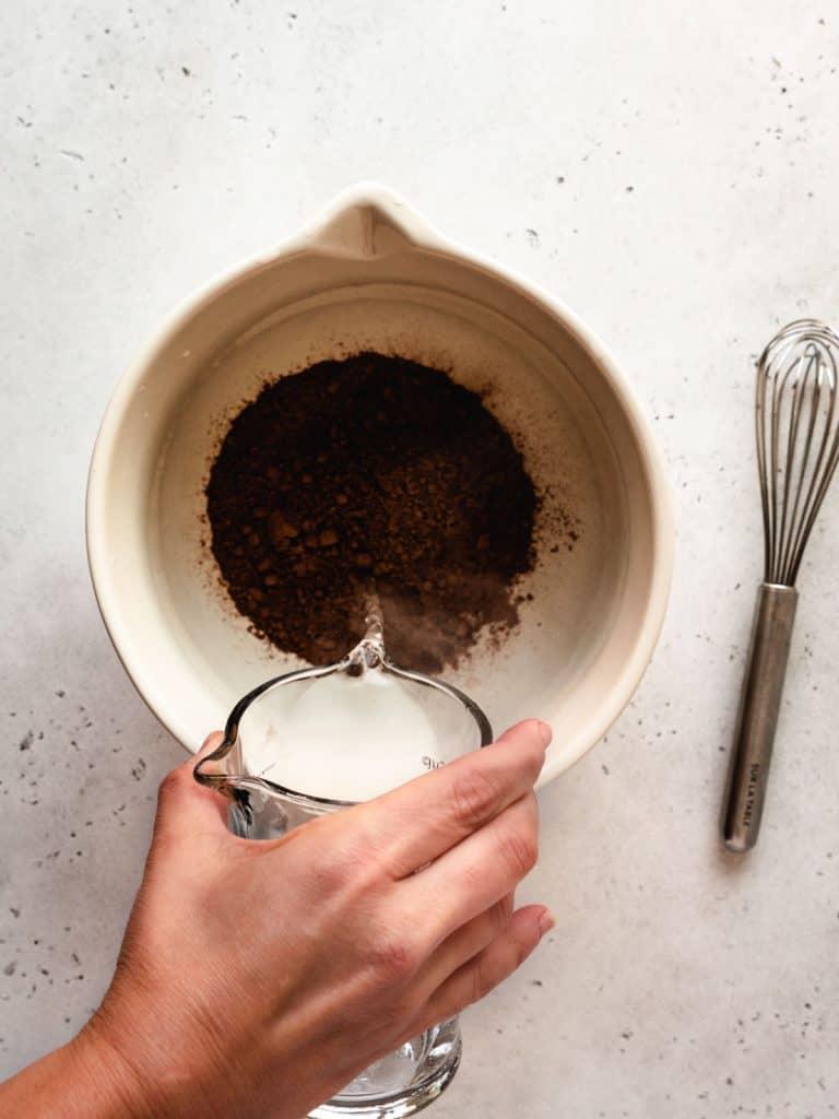 step 1 hot water cocoa powder chocolate | kickassbaker.com