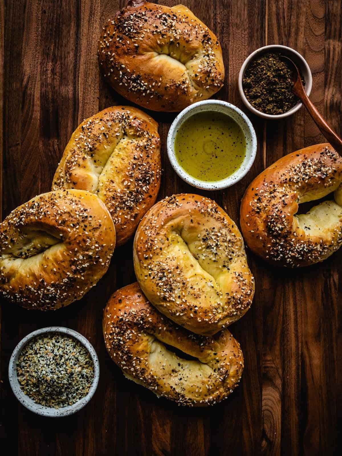 homemade Jerusalem Bagels with everything bagel seasoning