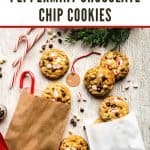 White Chocolate Peppermint Chocolate Chip Cookies | kickassbaker.com pin for pinterest 1