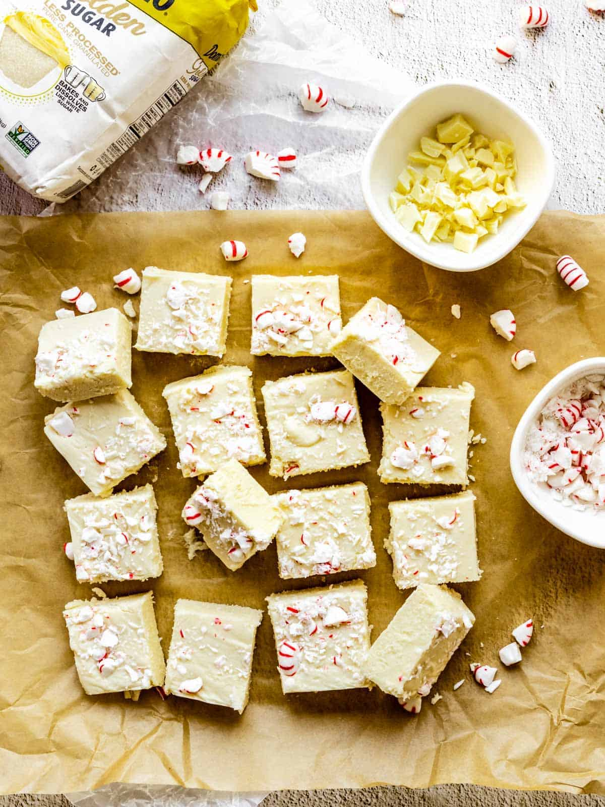 holiday fudge with candy canes