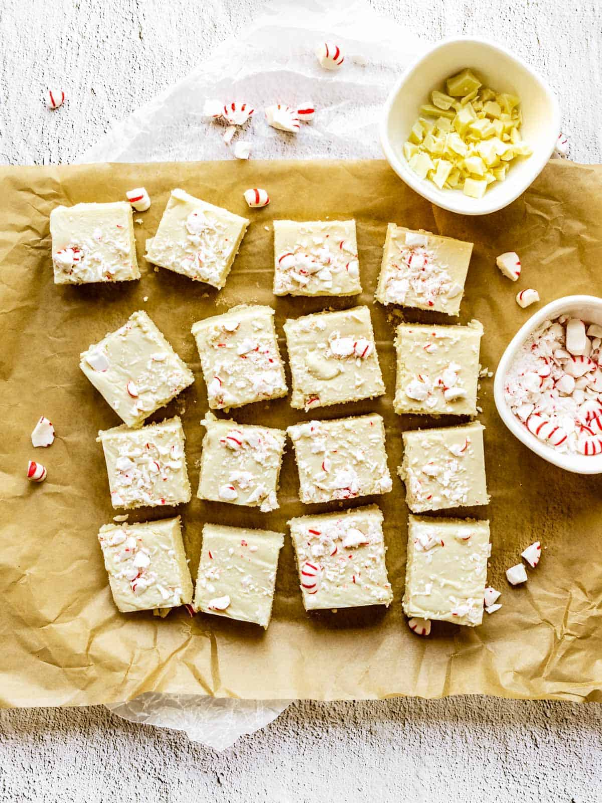 overhead of squares of white chocolate peppermint fudge