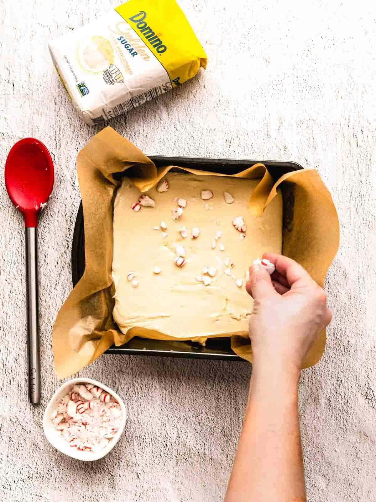 how to make white chocolate peppermint fudge step 9