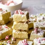 stack of candy cane fudge
