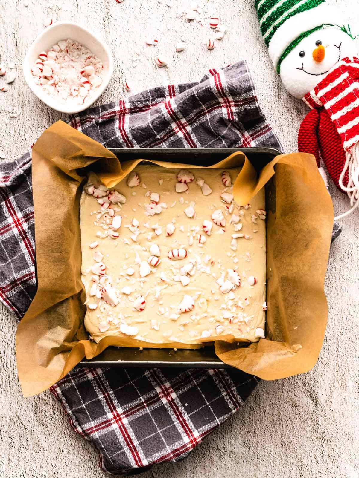 white chocolate candy cane fudge in pan