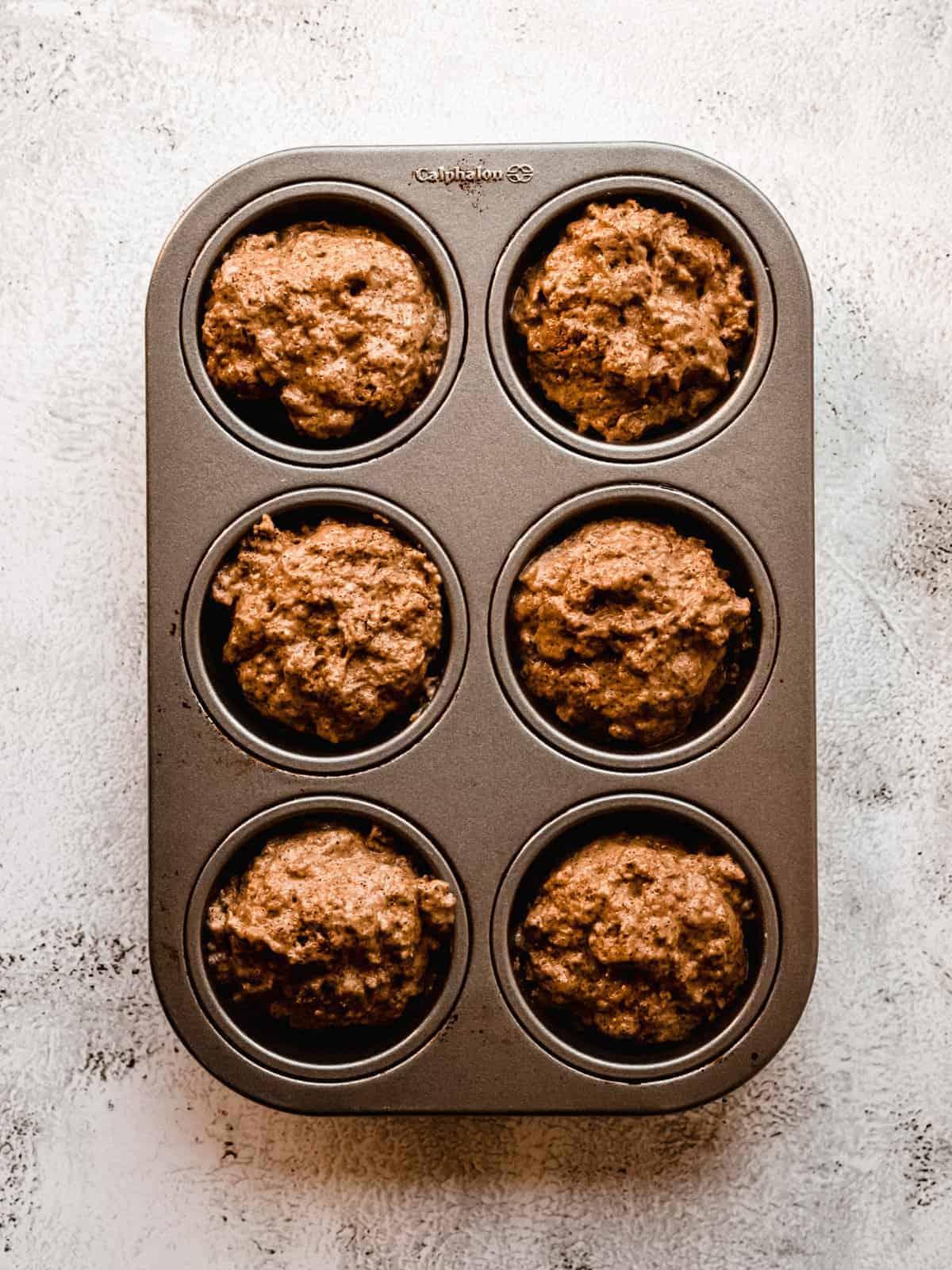 whole wheat kombucha muffin batter ready to be baked