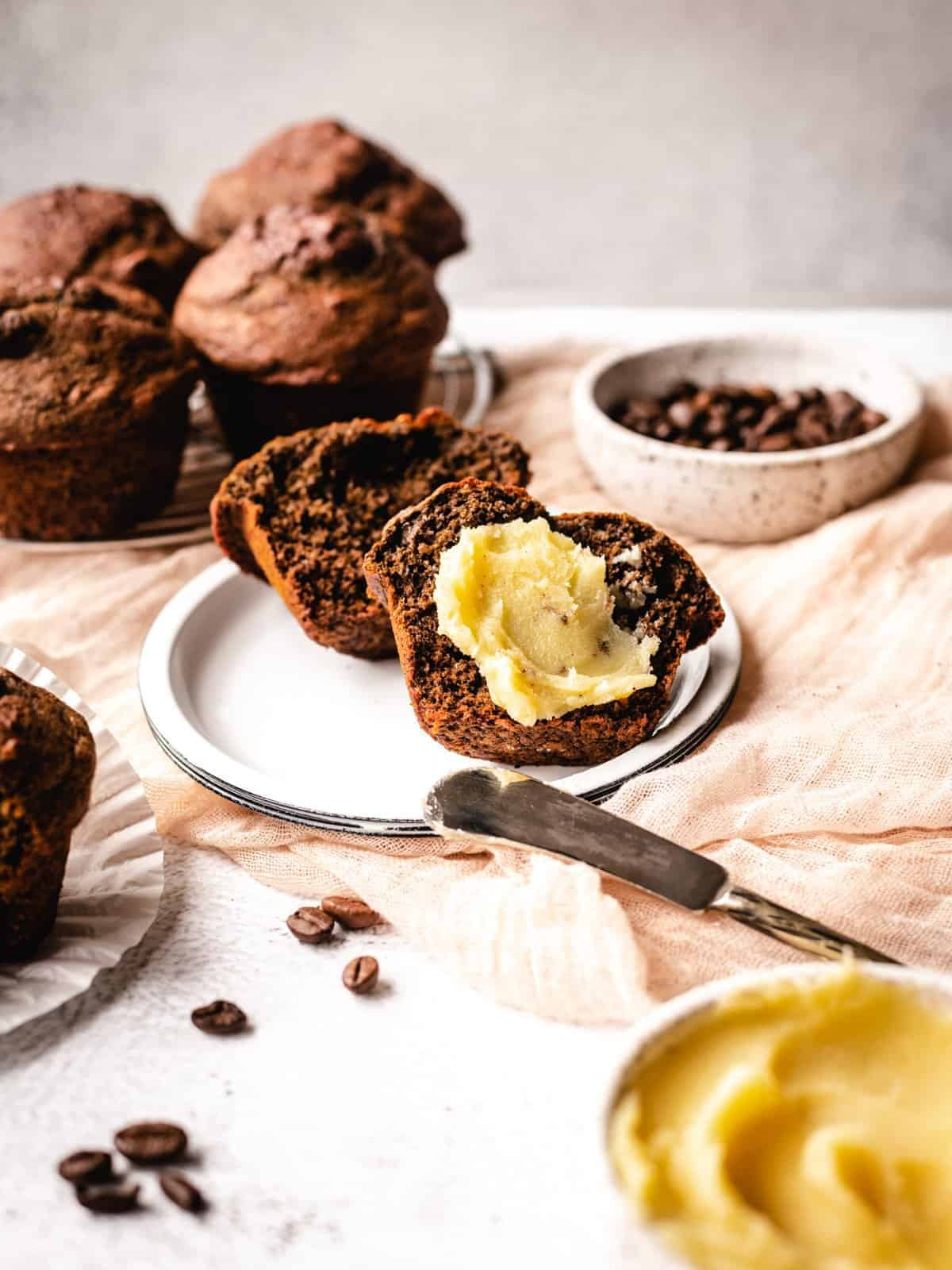 whole wheat muffins with coffee butter