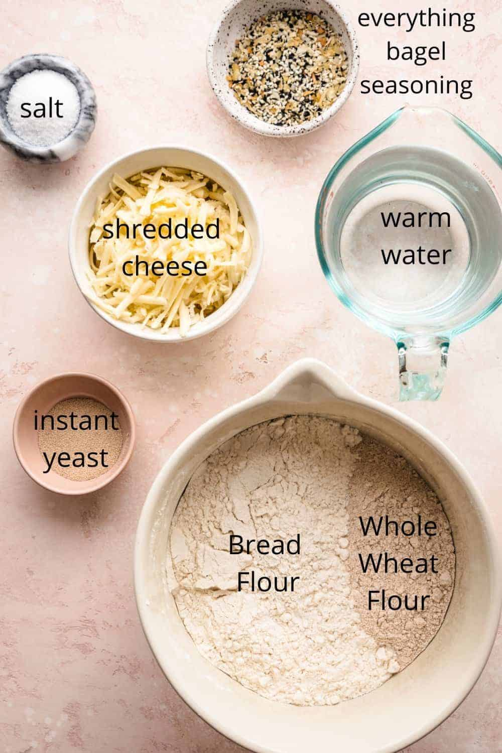 no knead whole wheat bread ingredients with labels