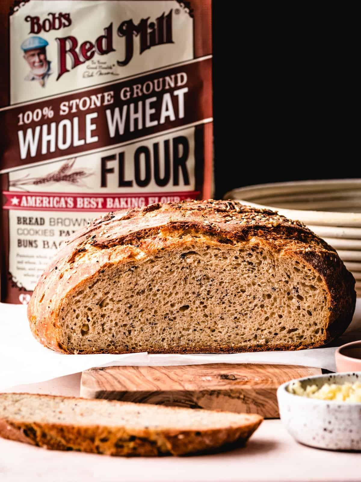 sliced whole wheat no knead bread