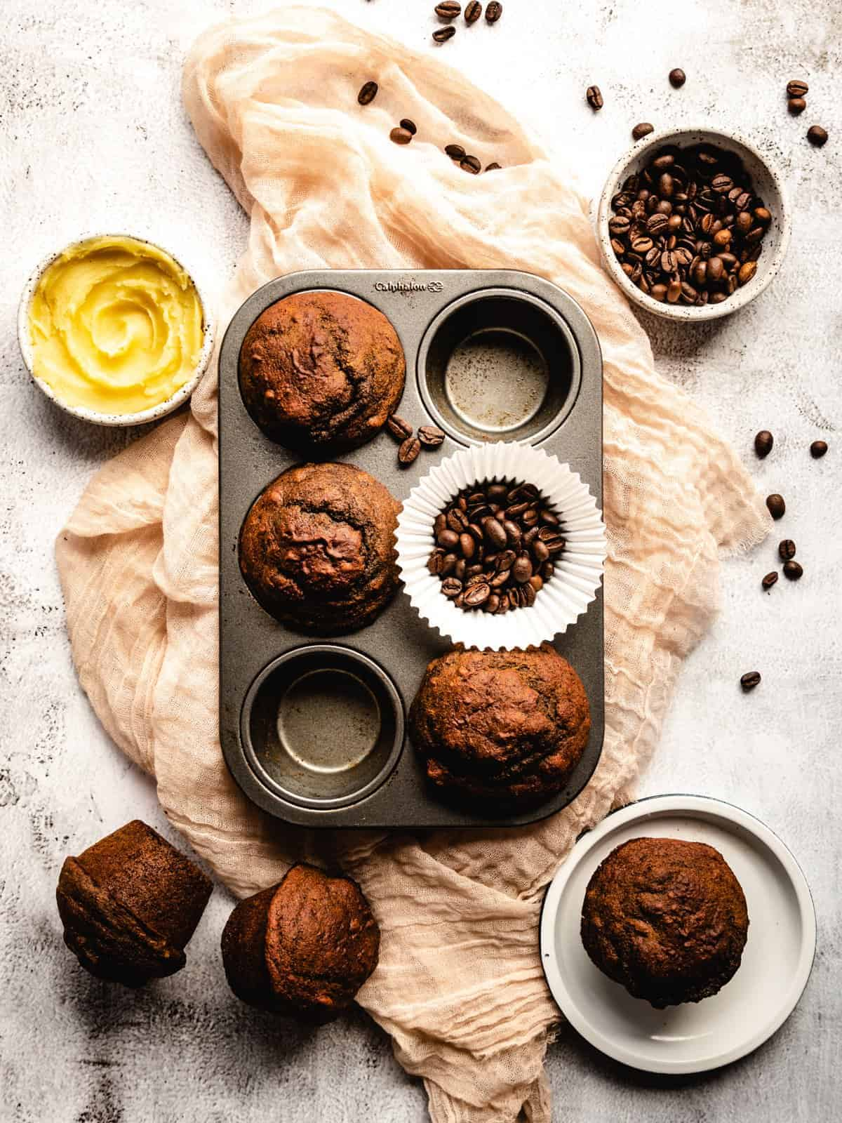 coffee muffins in a muffin time with coffee beans