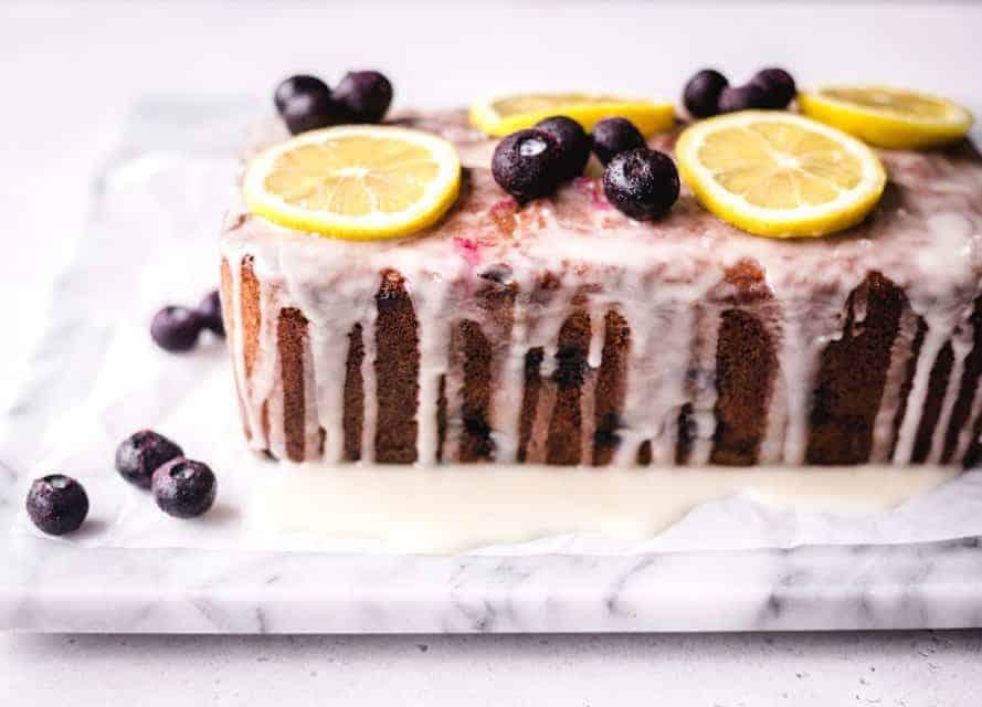 lemon blueberry yoghurt loaf cake with glaze