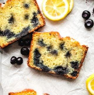 slices of lemon blueberry cake