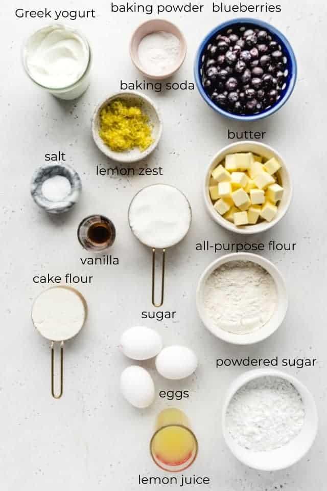 glazed blueberry lemon cake ingredients w labels