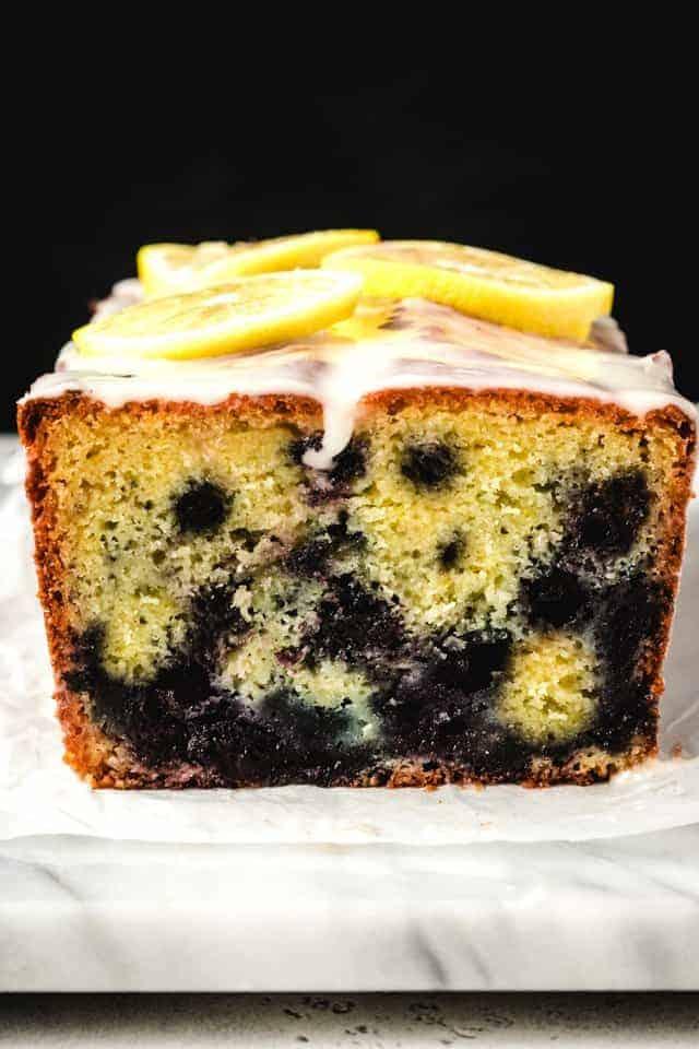 lemon blueberry cake sliced