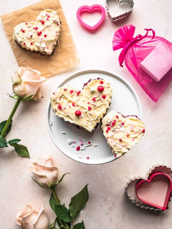 heart shaped blondies on a cake stand for valentines day