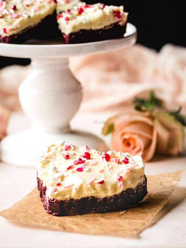 heat-shaped red velvet blondie with cream cheese frosting