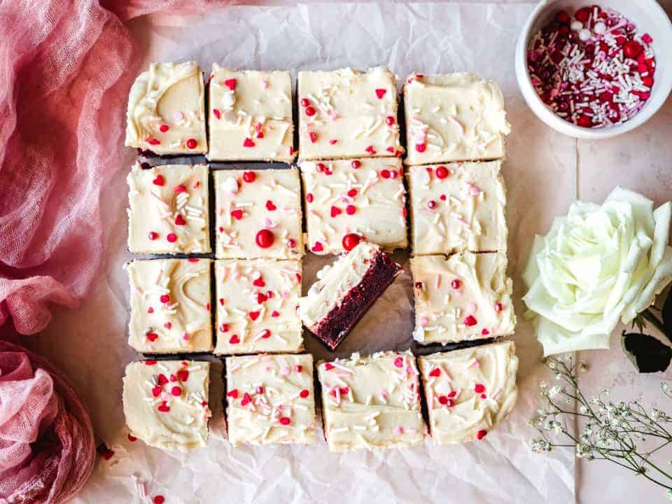 red velvet blondies cut into squares