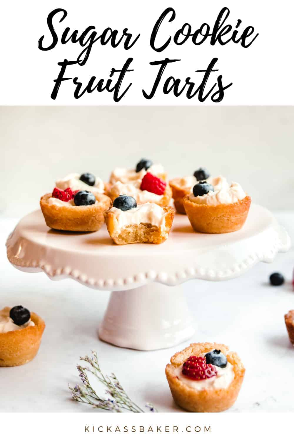 Sugar Cookie Fruit Tarts | kickassbaker.com pin for pinterest with text overlay