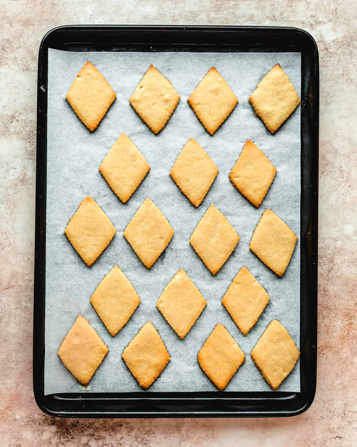 baking sheet with baked greek cookies on it