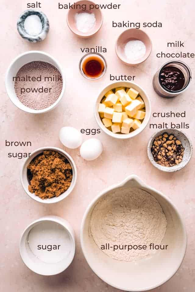 ingredients for malt ball cookies w labels