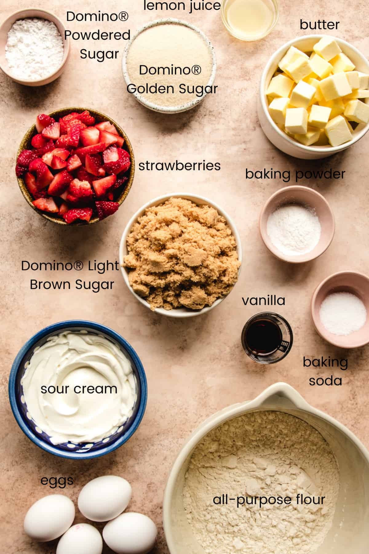 ingredients to make brown sugar bundt cake with labels