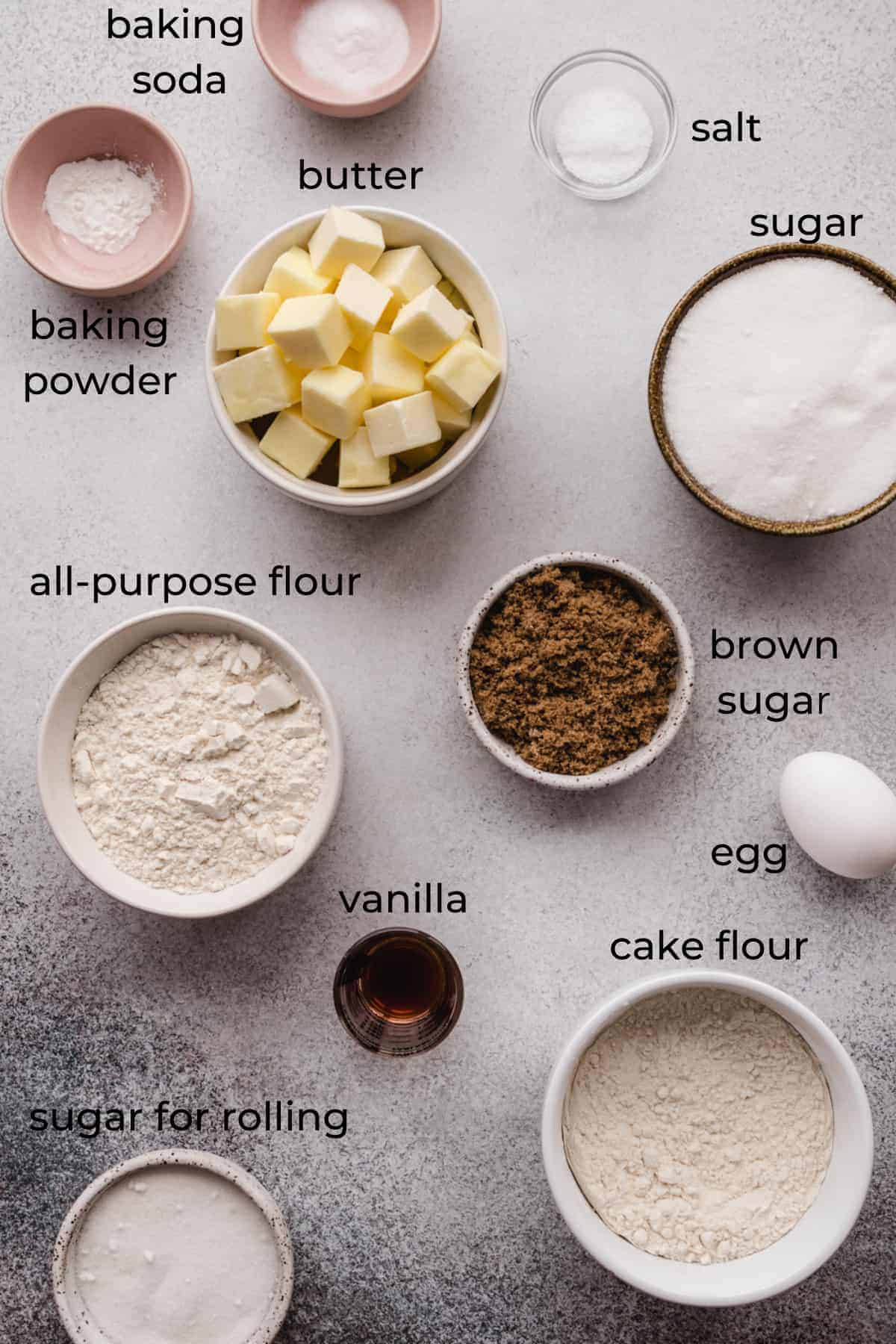 ingredients to make chewy sugar cookies with labels