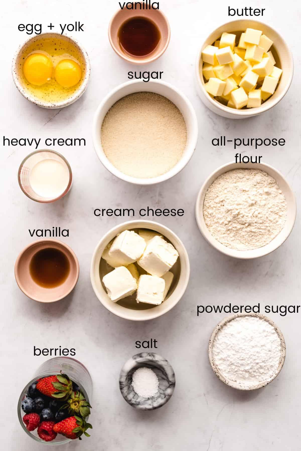 ingredients to make sugar cookie fruit tarts with labels