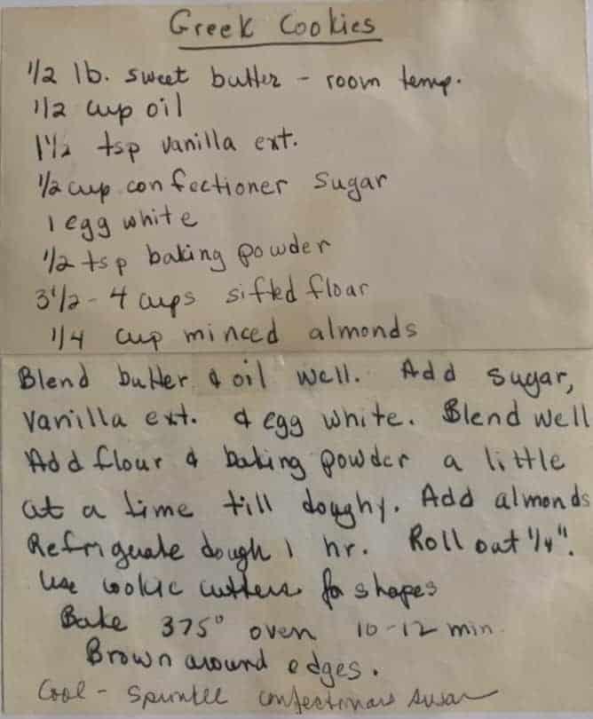 kourabiedes mom's original recipe handwritten