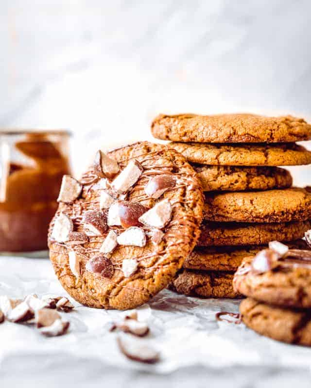 cookie drizzled with chocolate and crushed malt balls