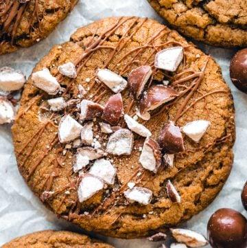 close up of a malt ball cookie