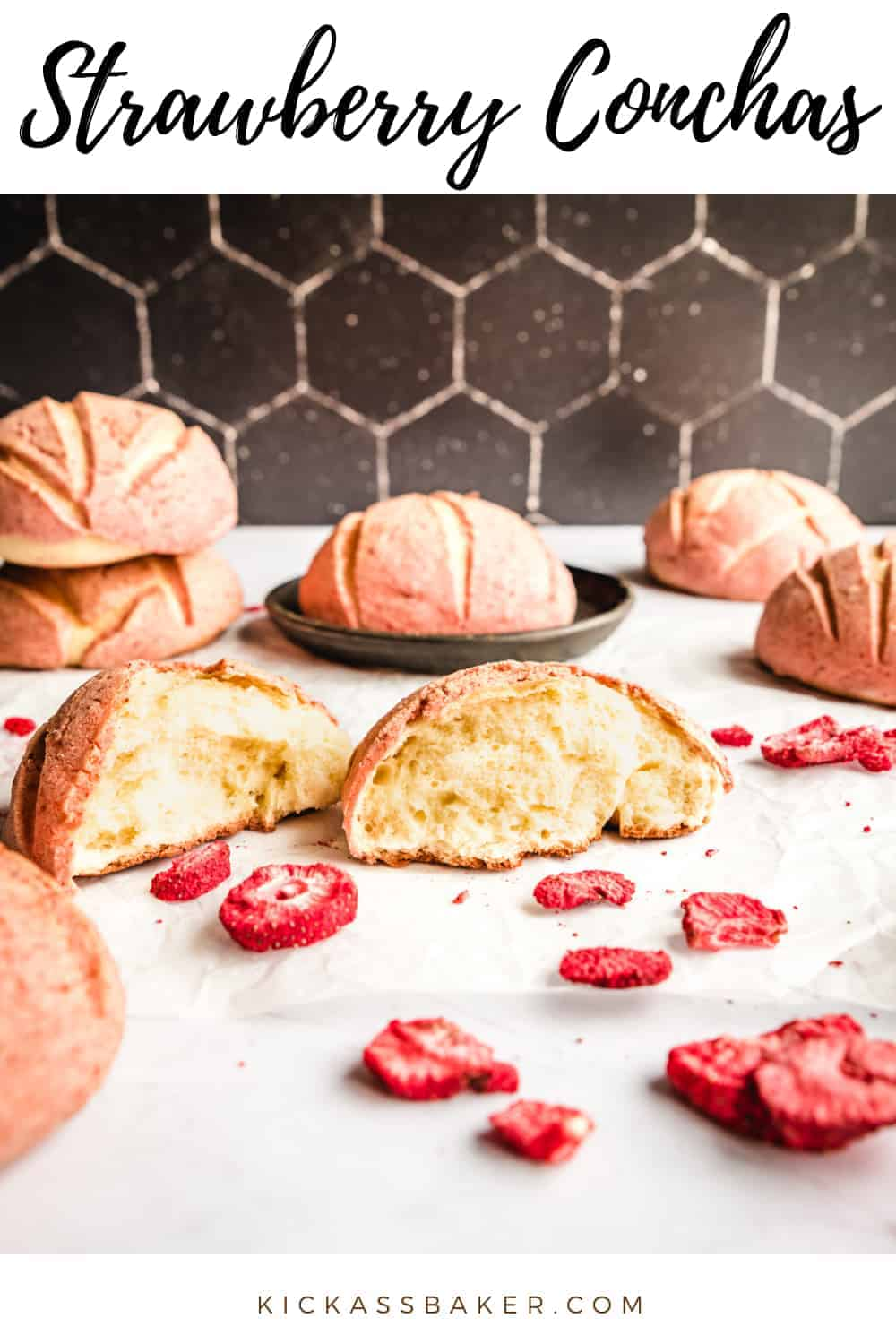 Strawberry Conchas | kickassbaker.com pin for pinterest with text