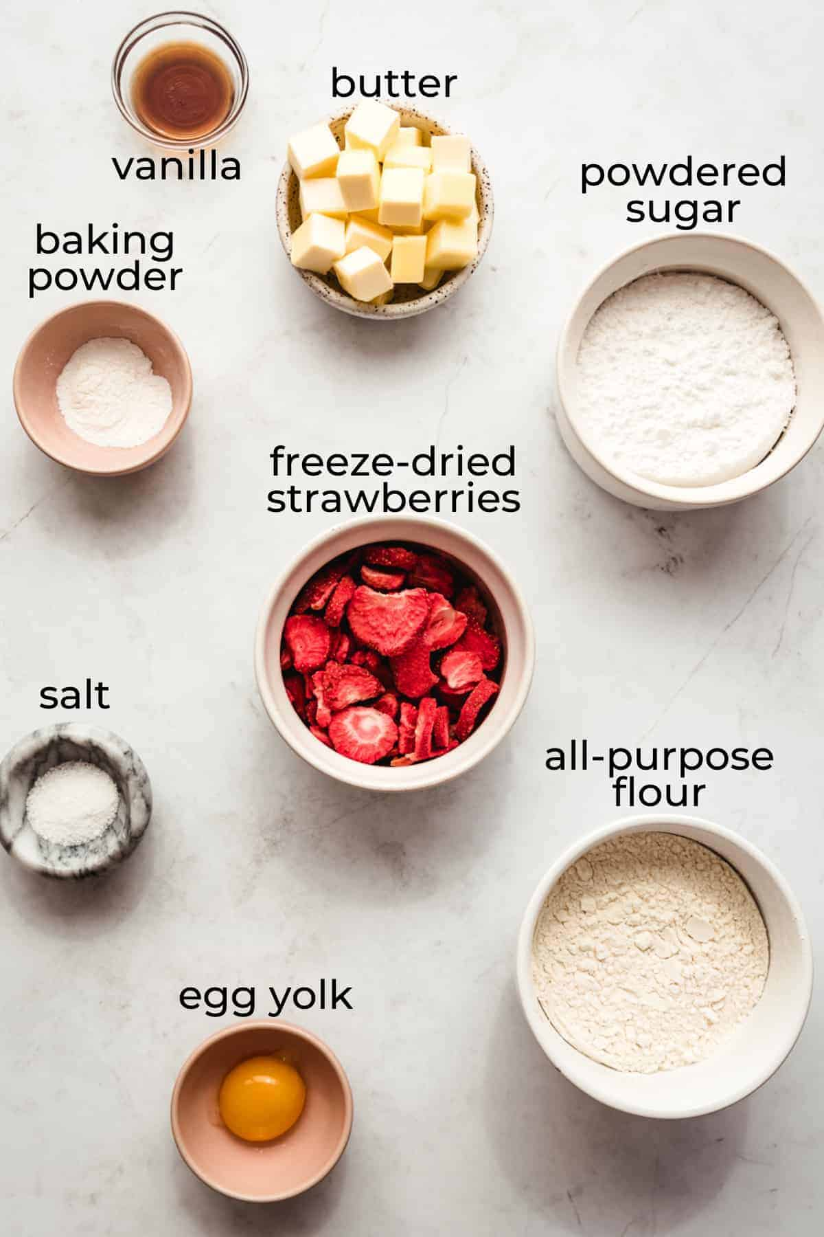 ingredients needed to make strawberry conchas 2