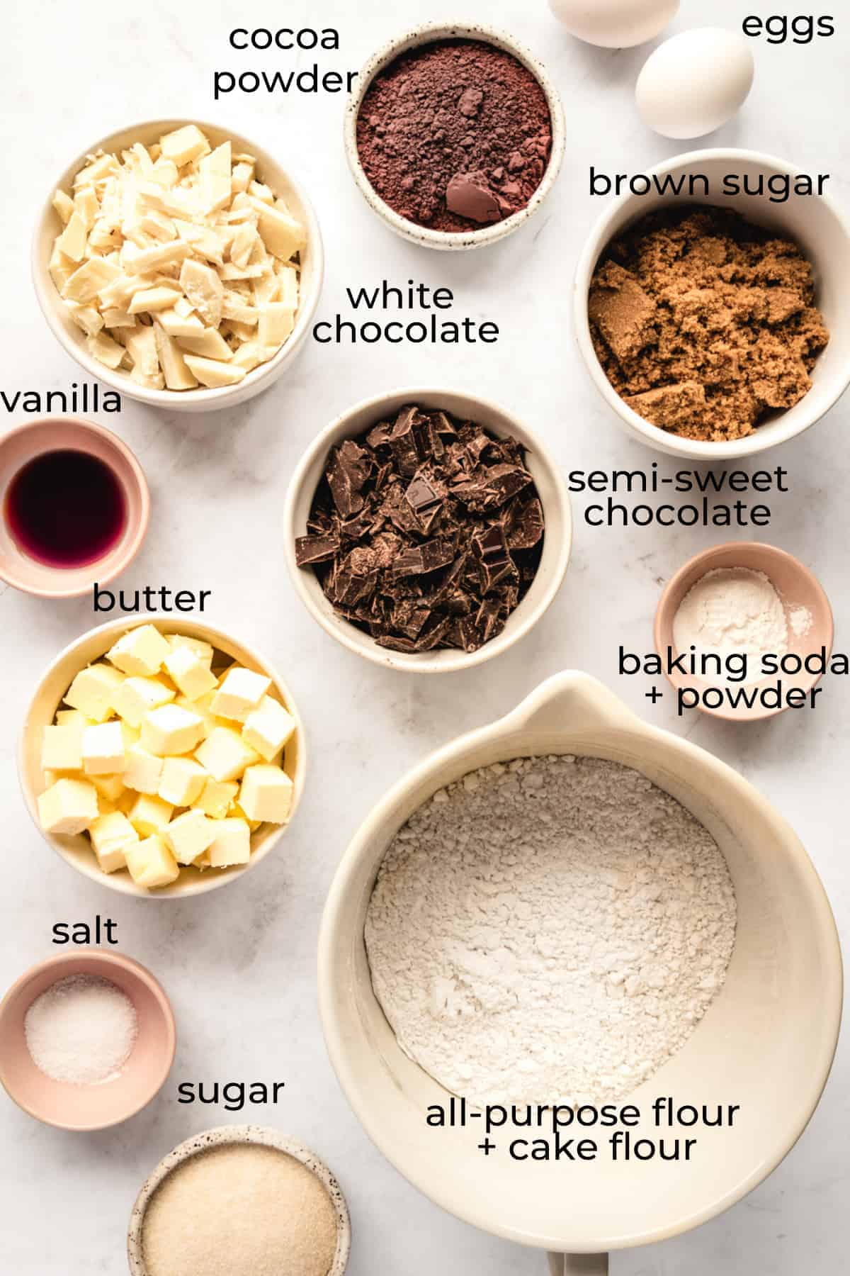 ingredients to make white chocolate cookies with labels 2