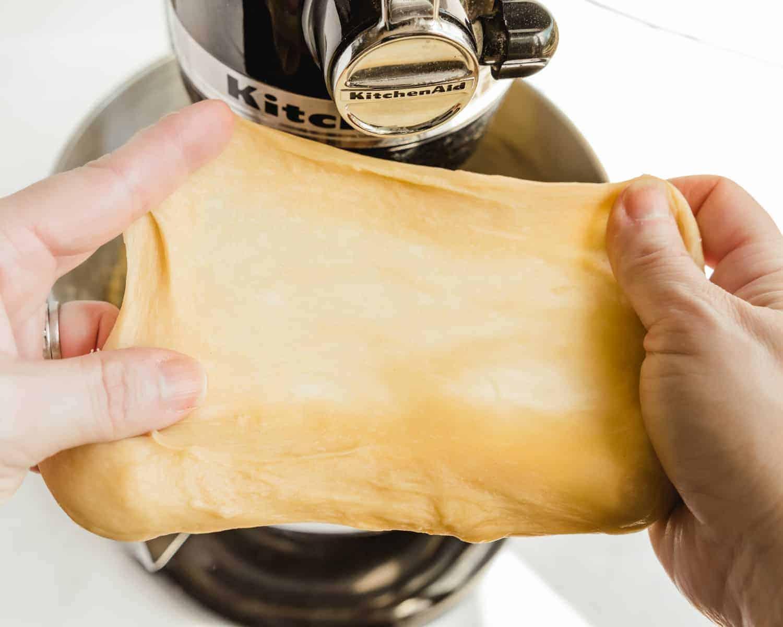 windowpane test on concha dough