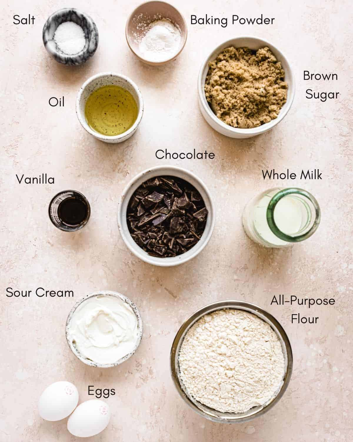 ingredients in bowls with names next to them