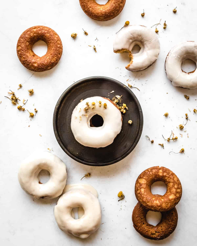 baked vanilla donuts with glaze