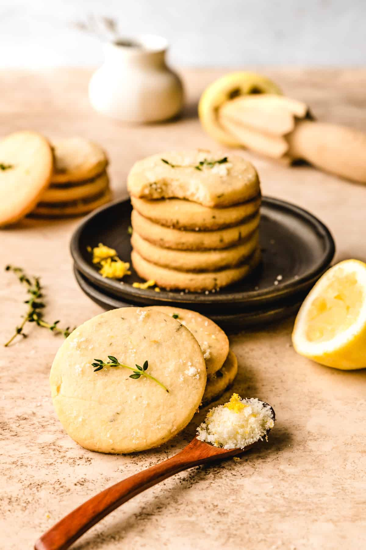Grab a couple of these delicious (and easy to make) lemon thyme shortbread cookies to snack on whenever you need a treat.