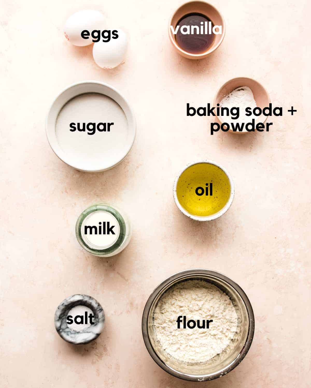 ingredients needed to make one bowl vanilla cake