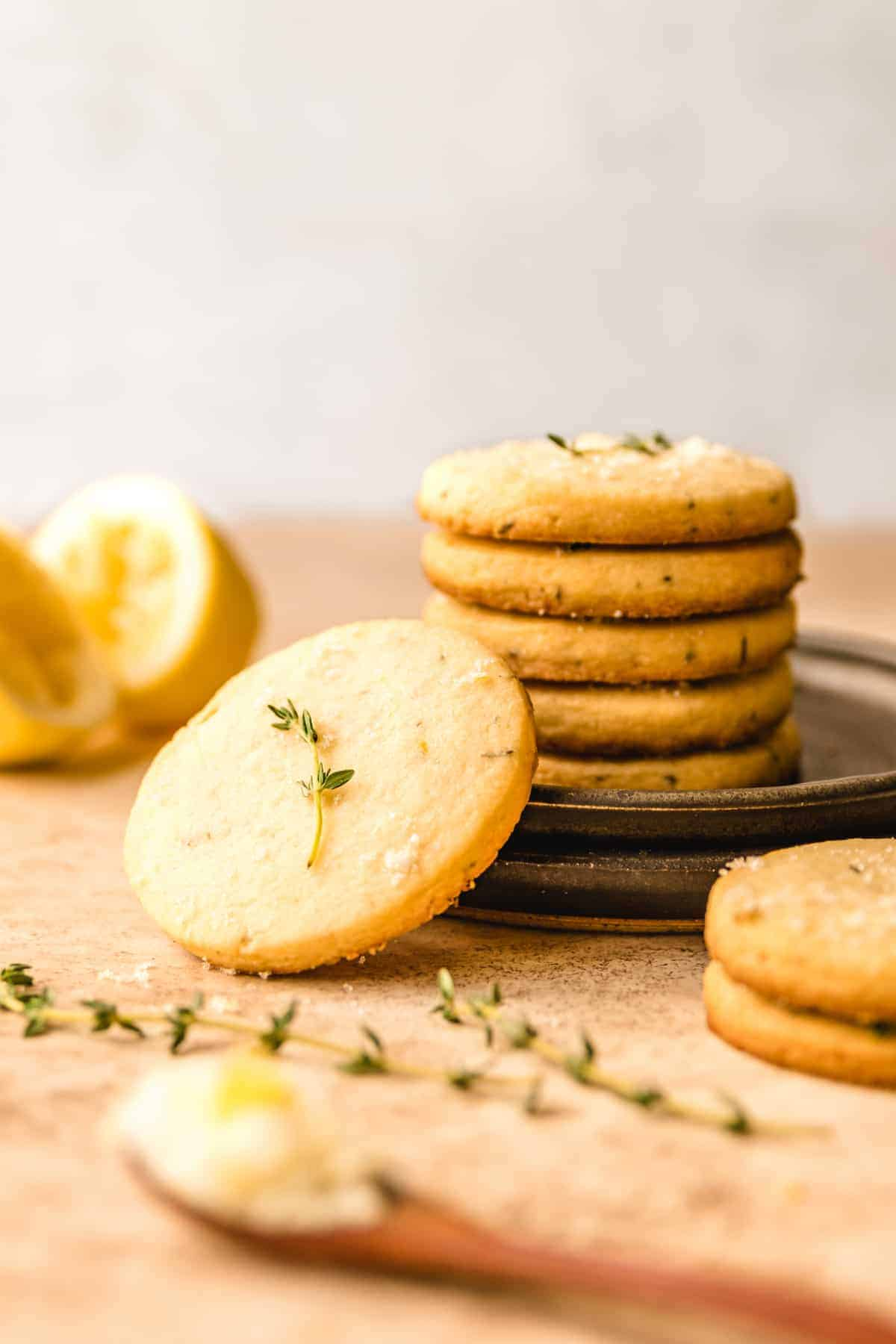 Make these easy lemon thyme shortbread cookies to enjoy with friends.
