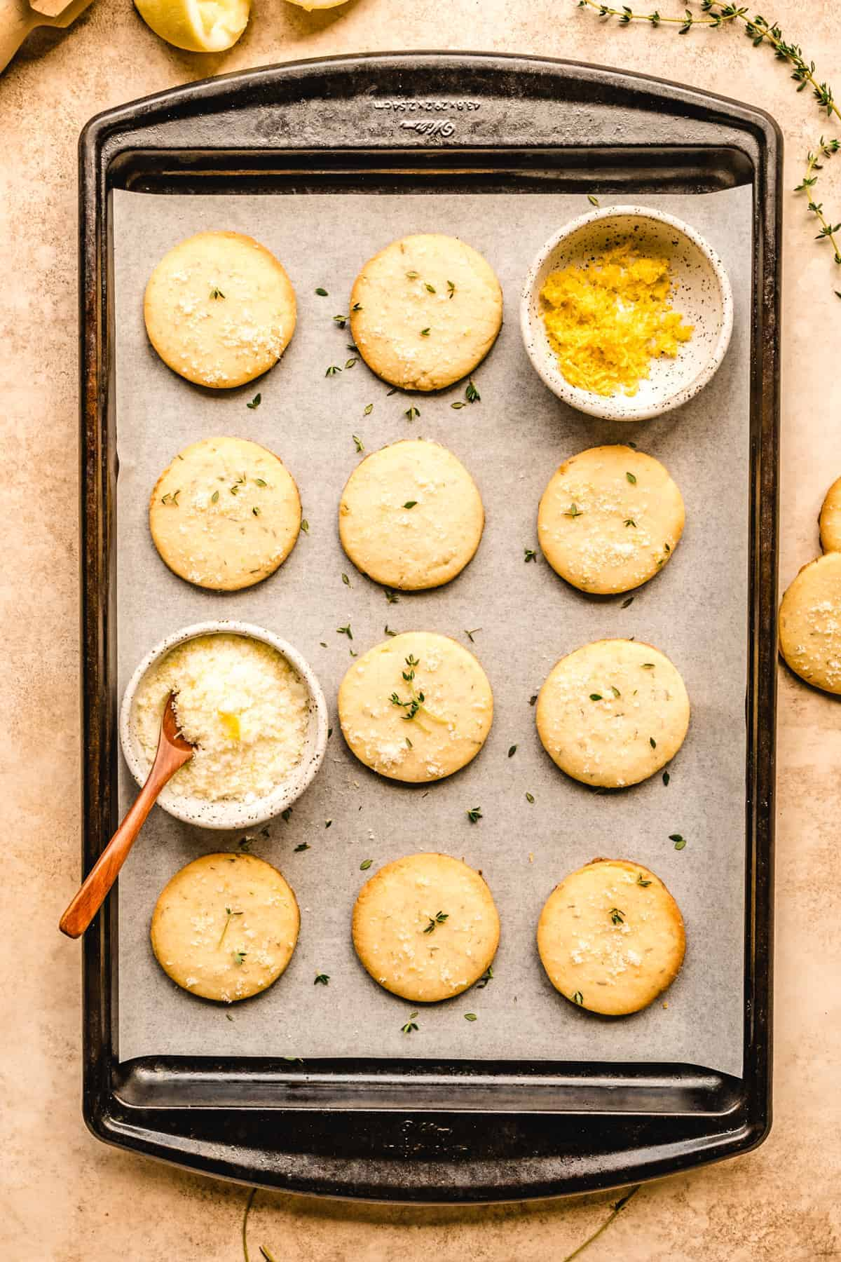 On a cookie sheet or plate, you'll enjoy these delicious lemon thyme shortbread cookies.