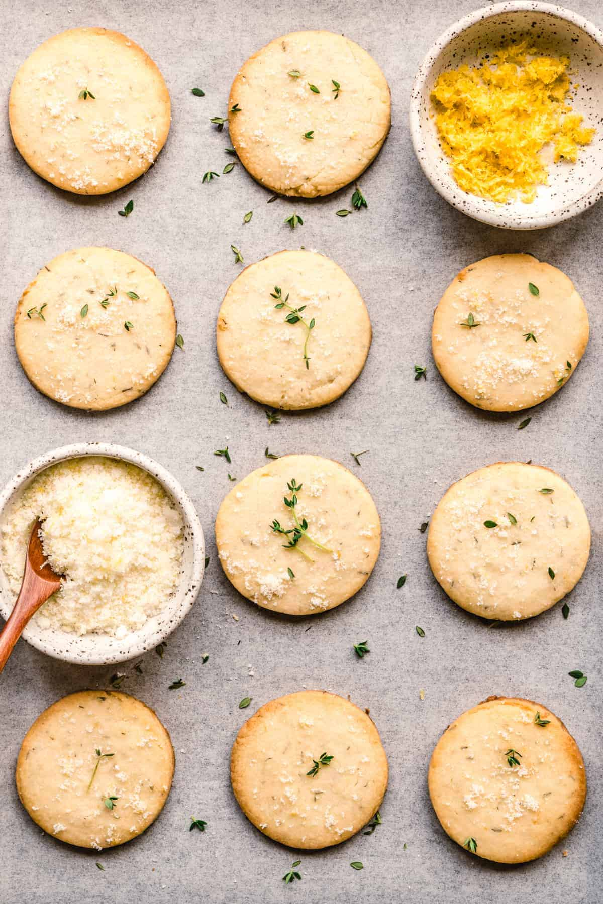 Enjoy these golden brown lemon thyme shortbread cookies any time you need a sweet treat.