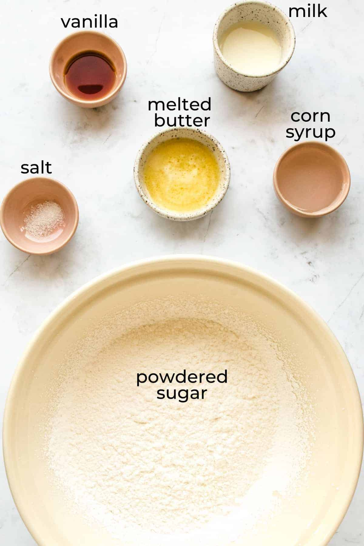ingredients needed to make thick vanilla glaze for donuts