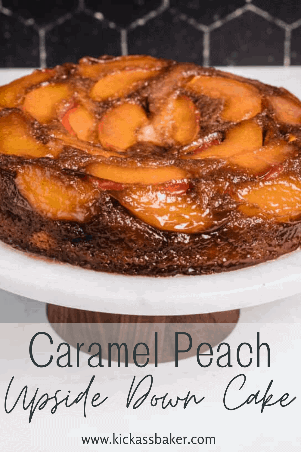 Use fresh or frozen peaches to make this delicious caramel peach upside down cake from scratch.