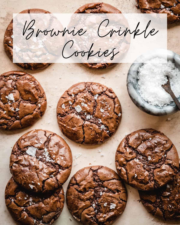 brownie crinkle cookies pin for pinterest
