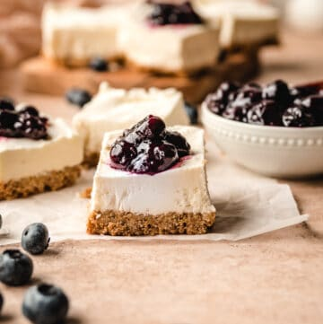 The creamy no bake cheesecake filling is perfect with the blueberry topping and crunchy pretzel crust.